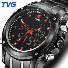 TVG hommes montres Top marque de luxe montre à Quartz hommes Sport horloge hommes numérique LED montre armée militaire montre-bracelet Relogio Masculino