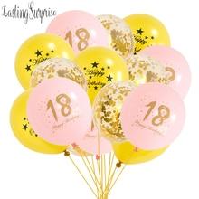 Ballons à hélium pour fête danniversaire   Ballon gonflable noir or pour anniversaire de 18 ans, décorations de fête de 16 à 18 ans, faveurs de fête 18th pour adultes