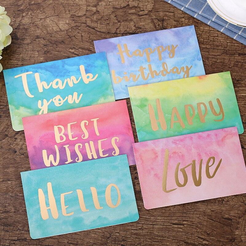 5 uds. Tarjetas de felicitación plegables en acuarela, tarjetas de regalo para el Día de San Valentín, Tarjeta De Invitación De Boda de cumpleaños, tarjetas de mensaje de agradecimiento DIY