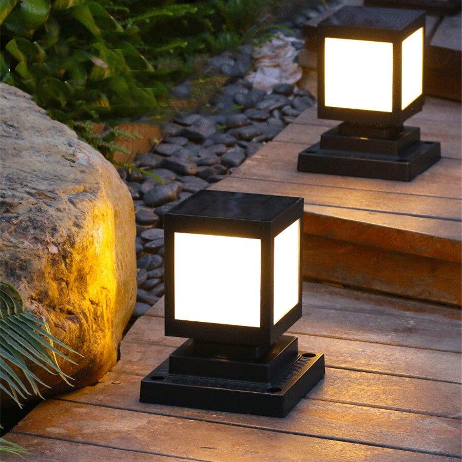 Lámpara de jardín BEIAIDI, moderna, Simple, Solar, Pilar, lámpara de jardín, paisaje de exterior, columna de césped, lámpara Solar, camino de jardín, valla, bolardo, Luz