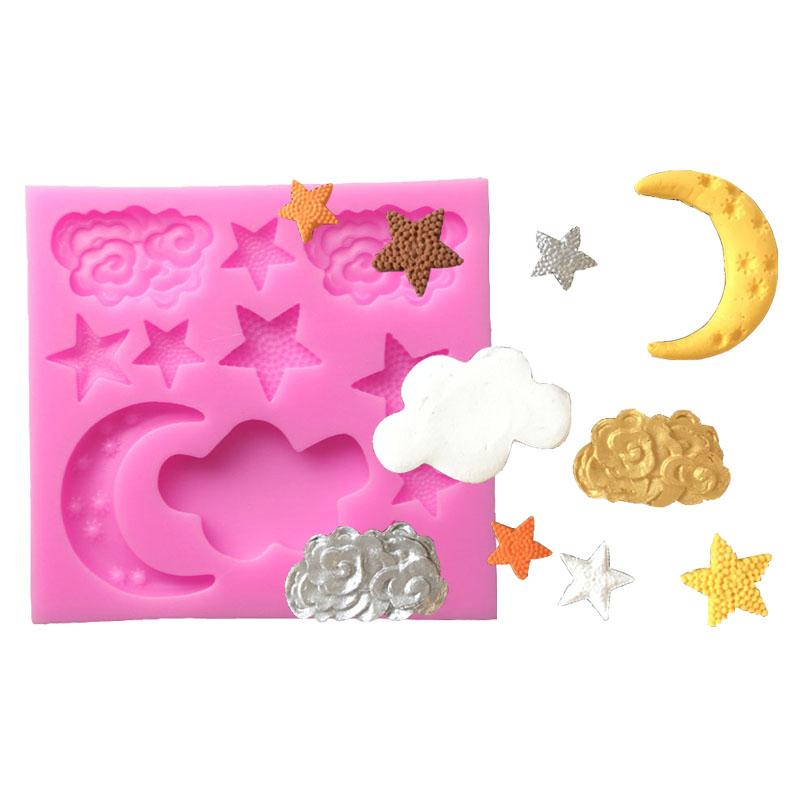 Силиконовая форма для мыла 3D Cloud Star Moon, форма для шоколадного торта, сделай сам, украшение торта мастикой, силиконовая форма для мыла