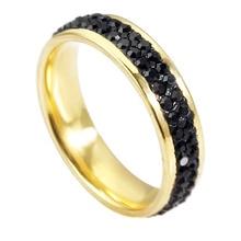 QianBei titane acier inoxydable anneaux pour femmes hommes 6MM cubique zircone anneaux de mariage 2Row CZ incrustation bijoux de mode en gros