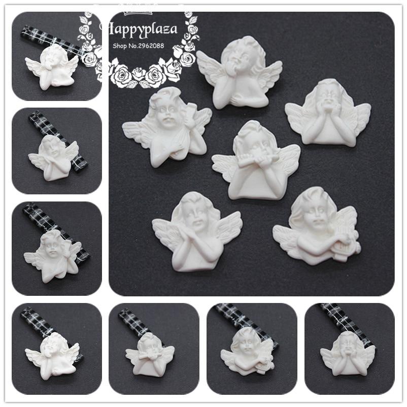 10cs Cute New Resin White European Cupid Angel Cameo Miniature Flatback Cabochon Art DIY Craft Decoration