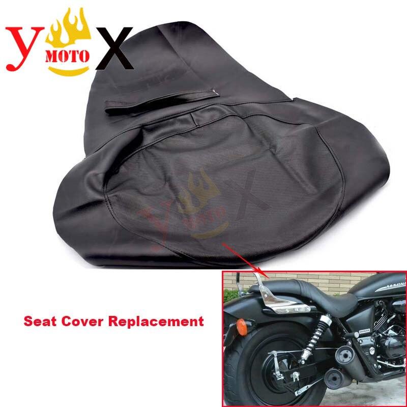 Reemplazo de cuero negro grueso de la PU de la motocicleta cojín para asiento de protección impermeable para Honda Magna250 Dragon Dog 250 DD250
