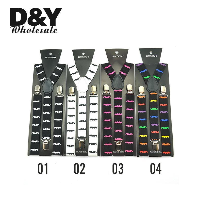 Men Women Unisex Shirt Clip-On Braces Elastic Suspender Fashion 10 Colors Mustache Pattern Mix Y-Back Suspenders