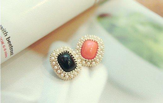 Moda Venta caliente nuevo estilo de piedra Rectangular coreana con pendientes de perlas simuladas E154