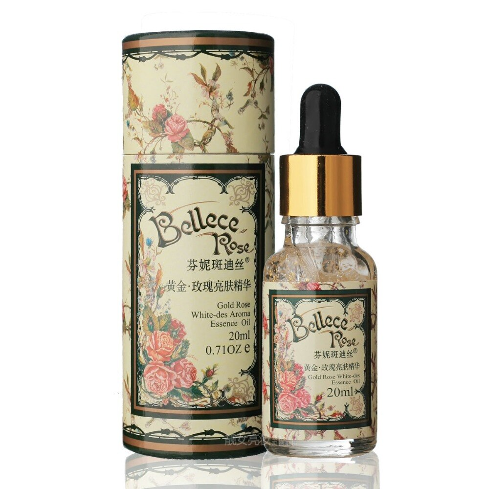 24k oro rosa blanco-des aroma esencia aceite 20ml ácido hialurónico blanqueamiento hidratante antiarrugas endurecer los poros