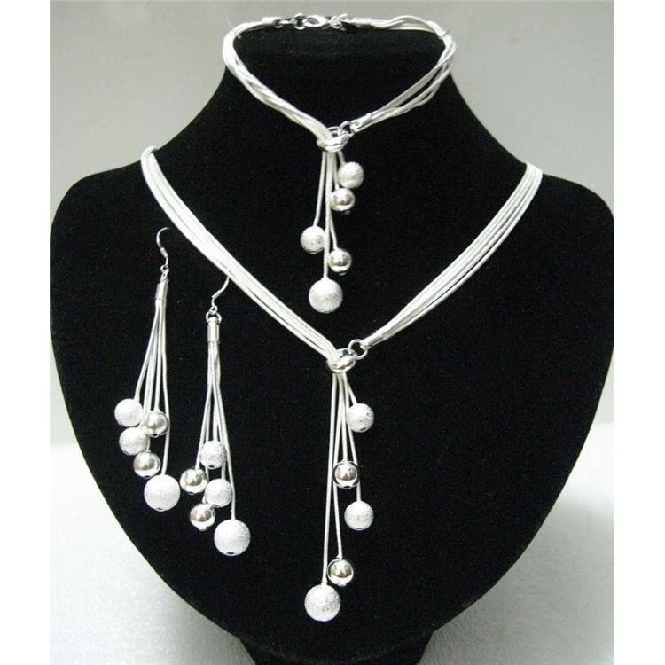 Новые женские свадебные ювелирные изделия из стерлингового серебра 925 пробы, вечерние бусины из трех частей, подарок, AKS0001