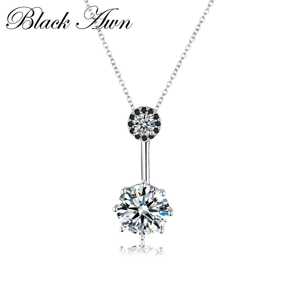 Preto awn fine jewelry genuine 4.2g 925 prata esterlina 3.8ct na moda preto & branco pedra colares pingentes para mulher p002