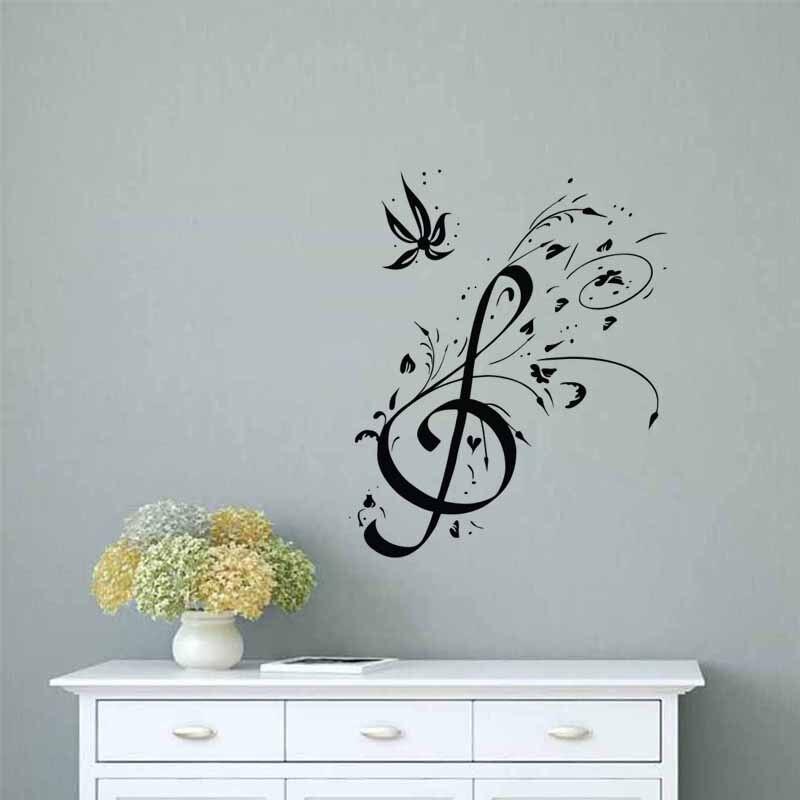 Pegatinas de pared con diseño Floral de agudos, decoración del hogar, sala de estar, nota Musical, murales de arte DIY, decoración de pared