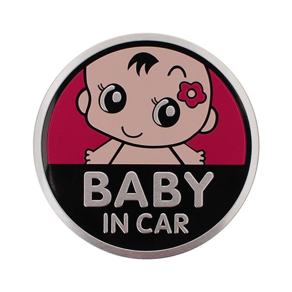 Accesorios de coche de Metal Placa de bebé Etiqueta de foto para Volkswagen Toyota Opel Nissan Volvo Peugeot Audi BMW Ford Mini Cooper