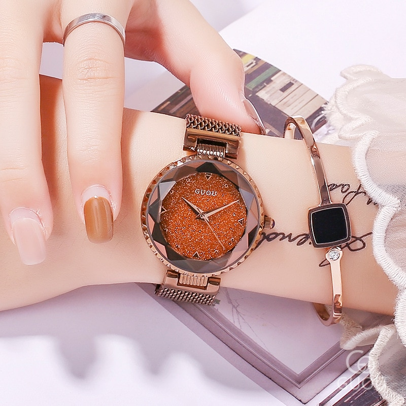 Fashion Rose Gold Quartz Watches Female Stainless Steel Wristwatch Clock Luxury Brand lady Crystal Watch Women Dress Watch enlarge