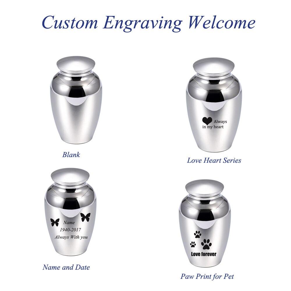 Urnas de cremación metálicas con acabado de espejo de IJU027-1 de 72mm x 45mm para cenizas, urnas y tarros de acero inoxidable grabables para cenizas de mascotas y adultos