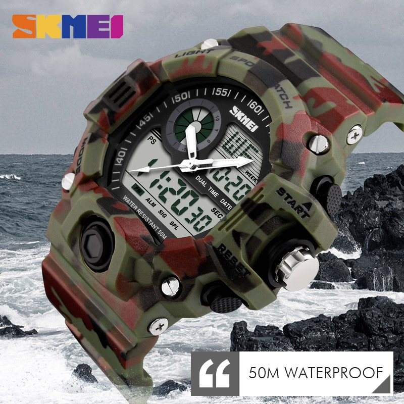 SKMEI relojes de pulsera con dos pantallas 50M resistente al agua al aire libre deporte reloj cronógrafo antichoques resistente reloj Masculino 1029