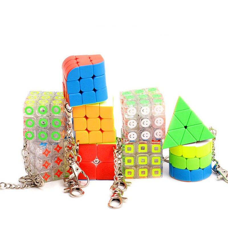 9 forma Mini cubo mágico llavero colgante creativo suave velocidad giro cubo mágico rompecabezas cubo para mochila coche decoración colgante juguetes