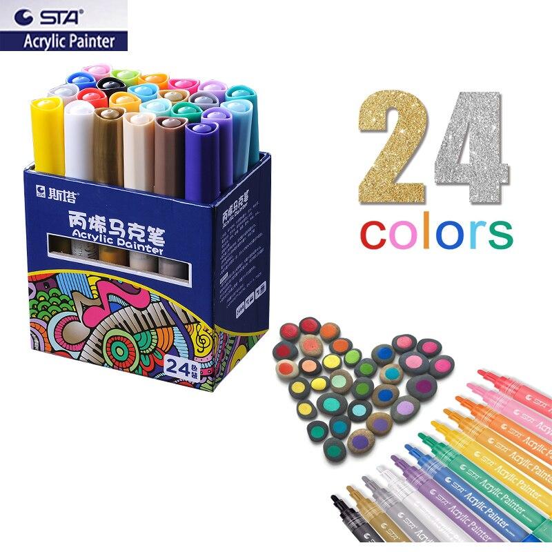 Sta marcadores de tinta acrílica colorida, conjunto permanente para madeira, pneu, carro, tecido de metal, plástico, ponta redonda 2mm de água-canetas baseadas