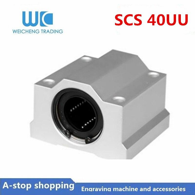 1 pieza SC40UU SCS40UU rodamientos de bolas de movimiento lineal cnc partes bloque deslizante buje para 40mm Guía de eje lineal riel CNC partes