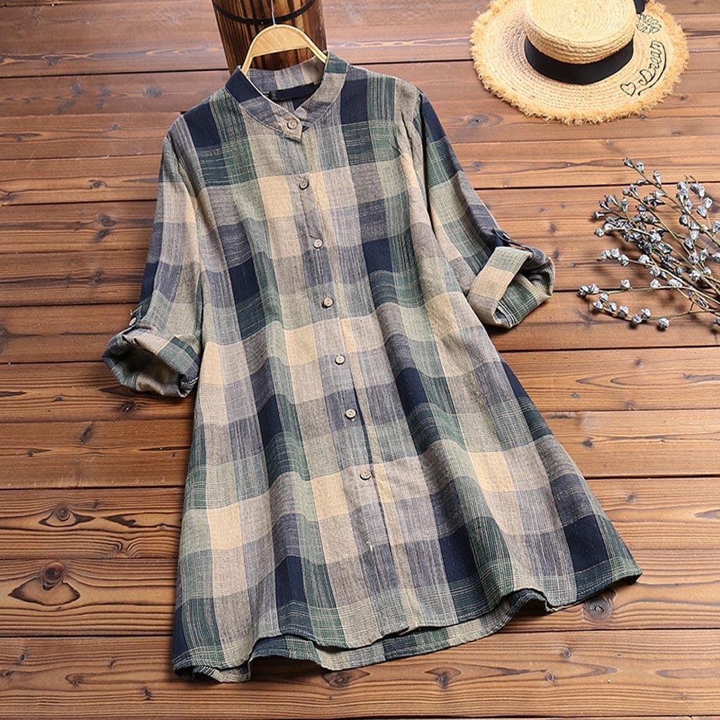KLV 2019 camiseta harajuku женская mujeres estampado manga larga cuello vuelto botón suelto Top camisas envío gratis d4