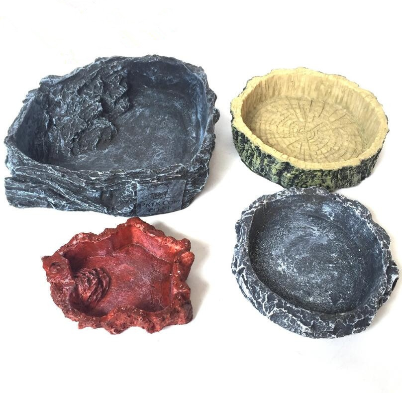 Crawler Pet Feeder Bowl Basin Resin Non-toxic Food Water Pot Reptile Turtle Tortoise Scorpion Lizard