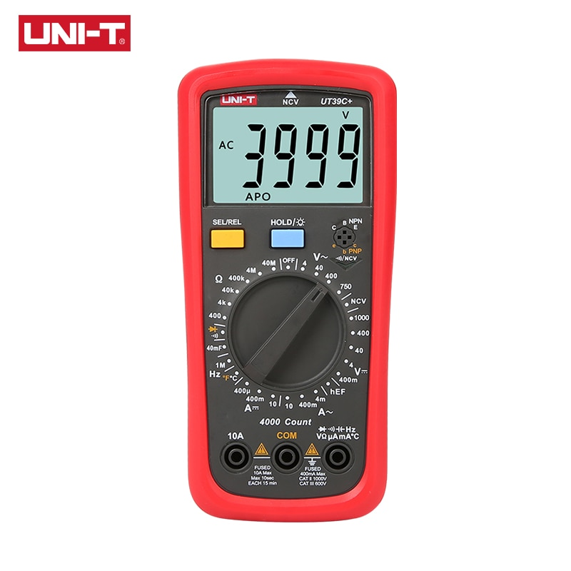 UNI-T UT39C+ Digital Multimeter Auto Range Tester Upgraded from UT39A/UT39C AC DC V/A Ohm /Temp /Frequency/HFE/NCV test