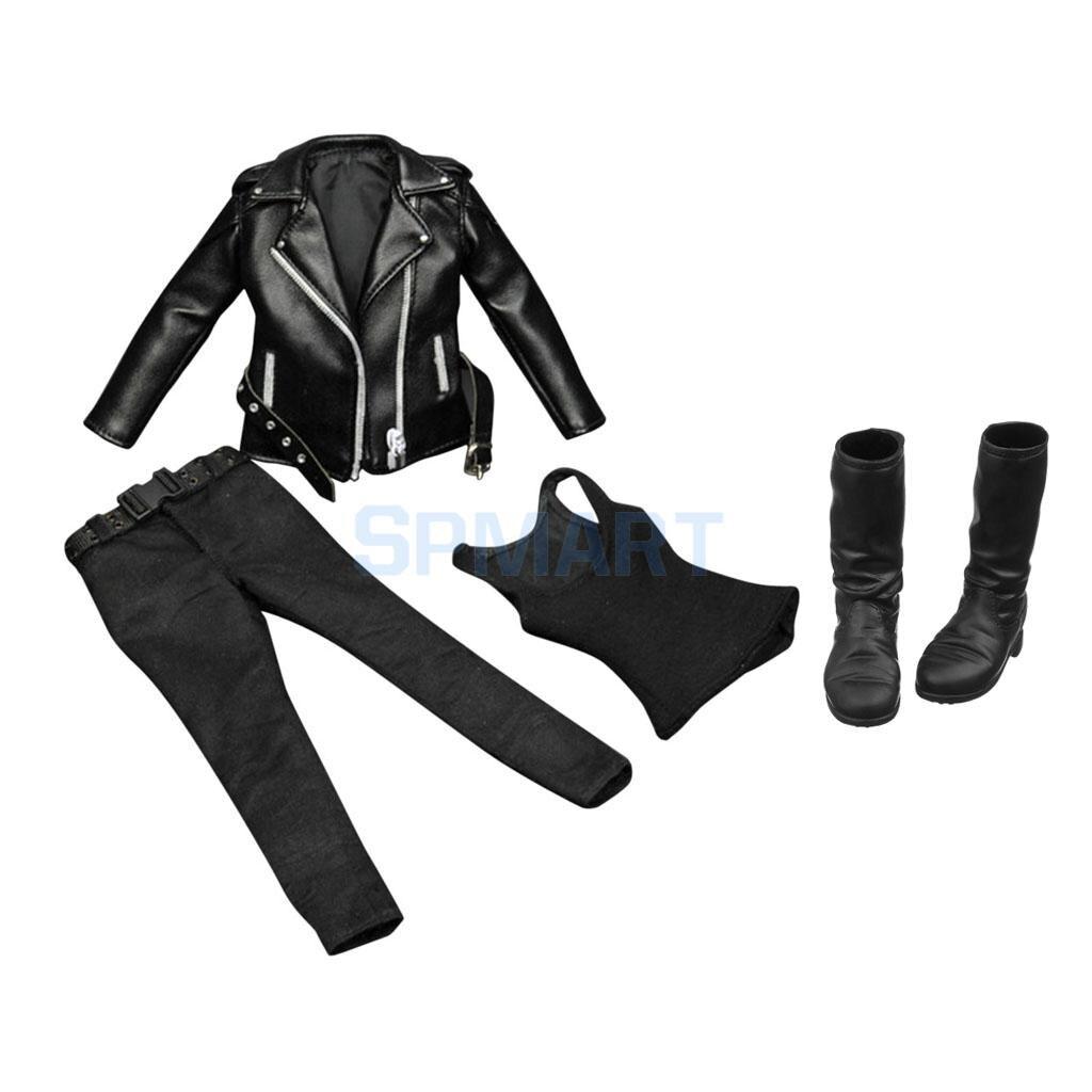 Ropa femenina a escala 1/6, chaqueta de cuero de PU negro, pantalones, chaleco, Botas Largas para figura de acción de 12 , accesorios de juguetes Sideshow