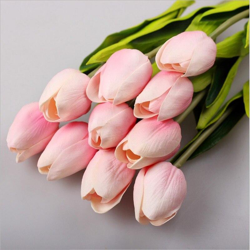 Tulipanes artificiales de látex, flores de tacto Real de belleza, ramo de novia falso, flores decorativas para boda, 10 Uds.