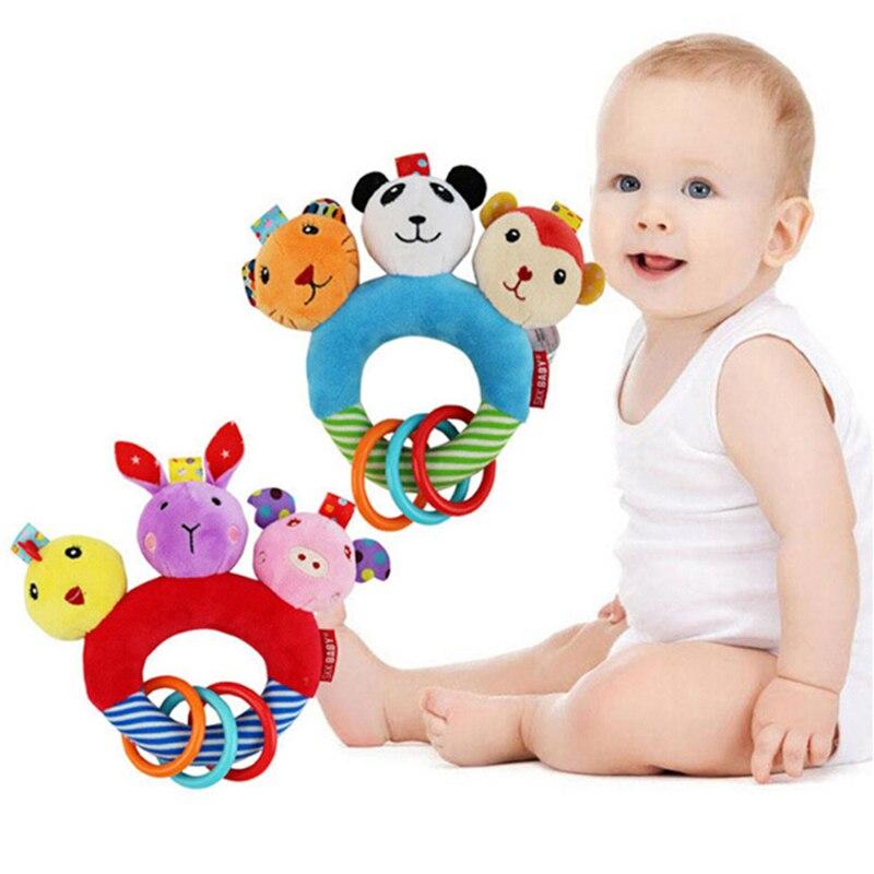 Baby Circle Hand Grasp Rattle Developmental Accompany Toy Three Animal Head Tiger Panda Monkey Infant Plush Toys