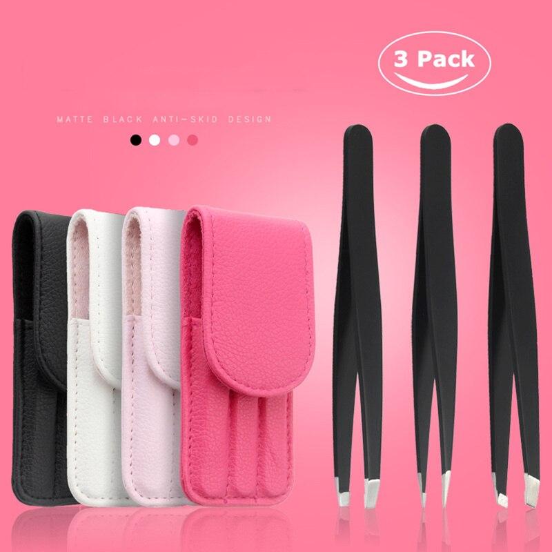 3 unids/set pinzas para cejas punta de acero inoxidable/punta inclinada/Kit de herramientas de maquillaje para depilación de punta plana con bolsa