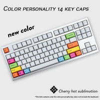 14 Key/pack Original Cherry Profile Personality Colorful PBT Key Caps Dye Sublimation Mechanical Keyboard Keycaps