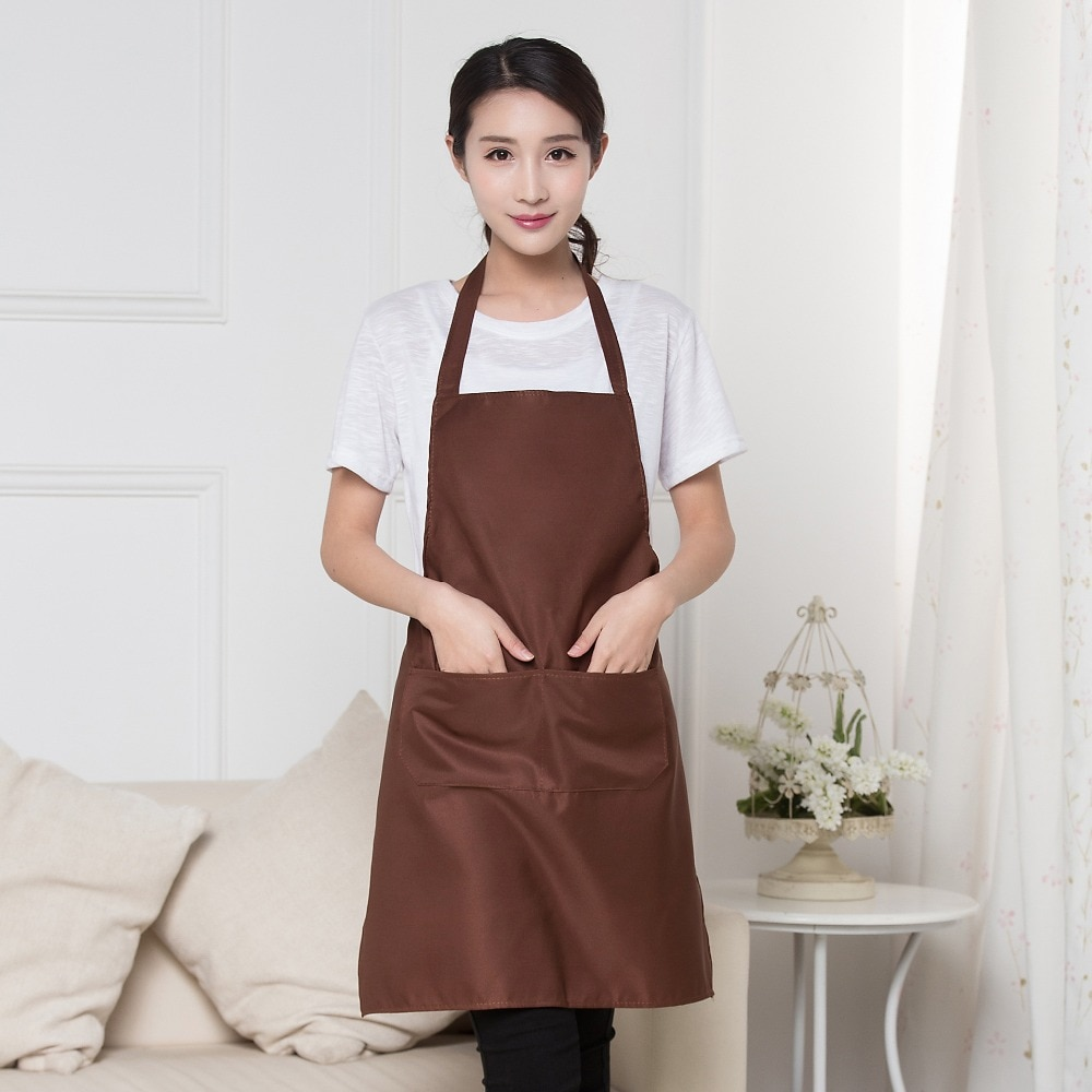Simple solid color High Quality 6 Colors Plain Apron+Pocket For Chefs Butcher Kitchen Fashion Apron With Pockets new cotton aprons фартук canvas pockets baking chefs kitchen cooking apron фартук кухонный chefs with hat household merchandises