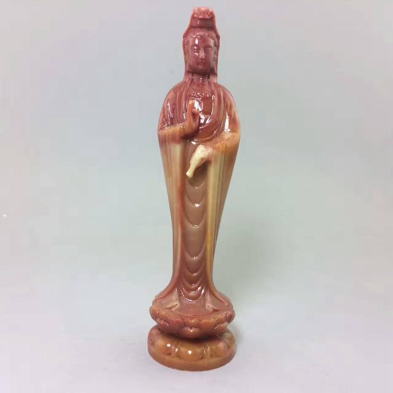 China shoushan stone old Hand carved  Buddism godness Guanyin Statue