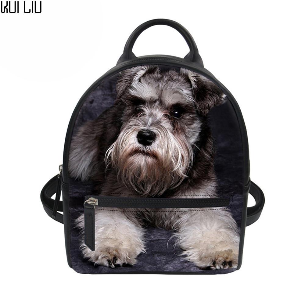 Customized Girls Mini Black Backpack Schnauzer Shih Tzu Husky Dog Printed Pug Small Pu Leather Shoulder Bag Women Travel Bag