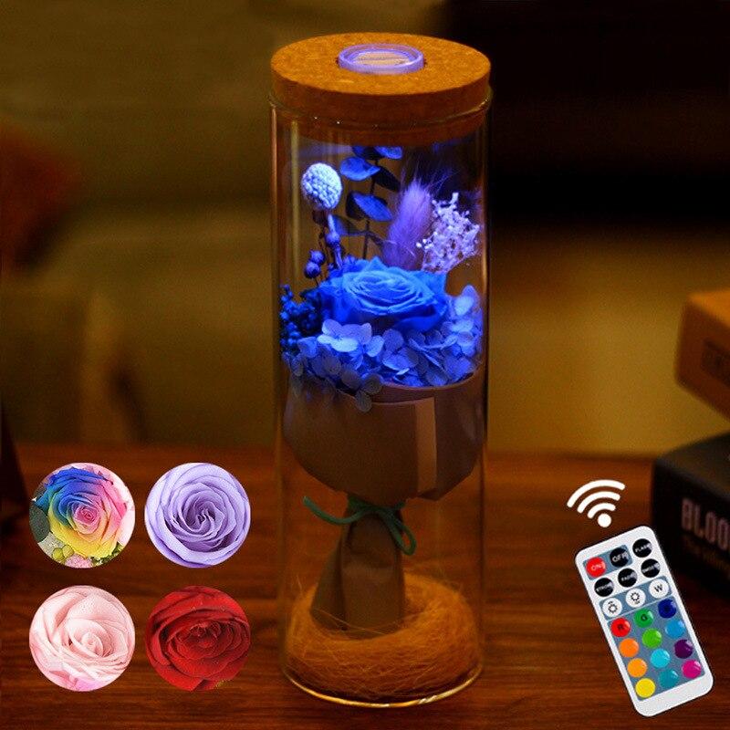 مصباح LED على شكل وردة مع جهاز تحكم عن بعد ، شدة إضاءة RGB قابلة للتعديل ، مصباح ليلي ، مصباح بجانب السرير ، هدية عيد ميلاد ، ديكور منزلي
