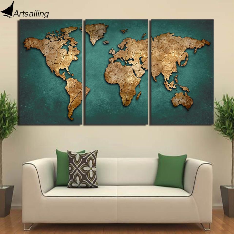 HD مطبوعة 3 قطعة قماش الفن خريطة العالم قماش اللوحة Continent القارة جدار صور لغرفة المعيشة ديكور المنزل شحن مجاني