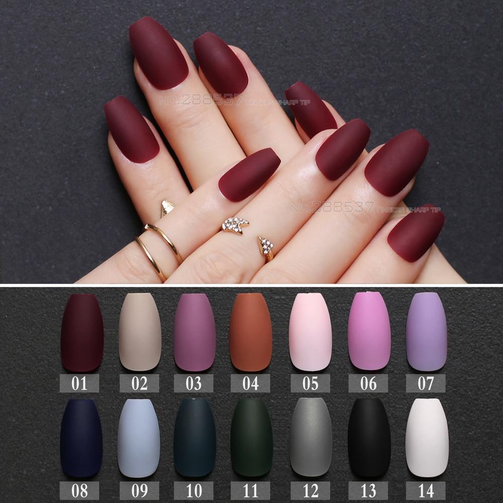Mate Borgoña ataúd uñas falsas gris azul puro diseños Nude 24 Uds púrpura puntas de uñas completas Rosa bailarinas rojo uña falsa negro
