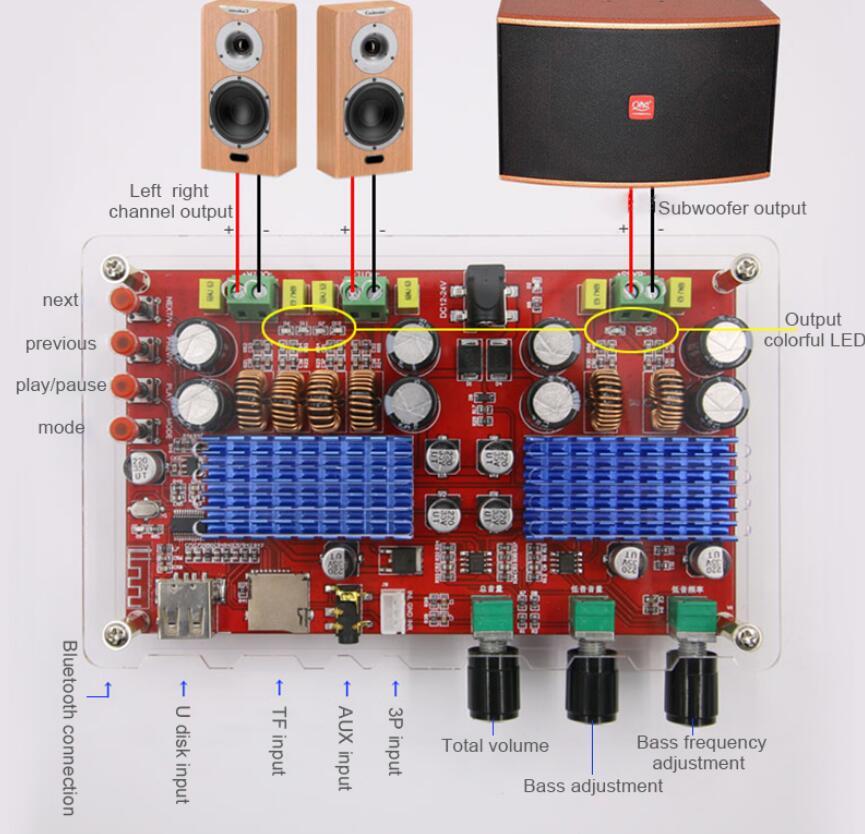 TDA3116 2,1 канальный Bluetooth сабвуфер усилитель плата 2*60 Вт + 100 Вт усилитель мощности стерео аудио усилитель басов