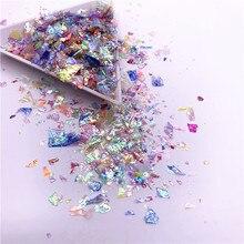 20 gr/paket Unregelmäßigen Shell Papier Pailletten DIY Nagel Flakies Bunte Pailletten Glitter Nail art Pailletten für 3D Nagel Kunst Dekoration
