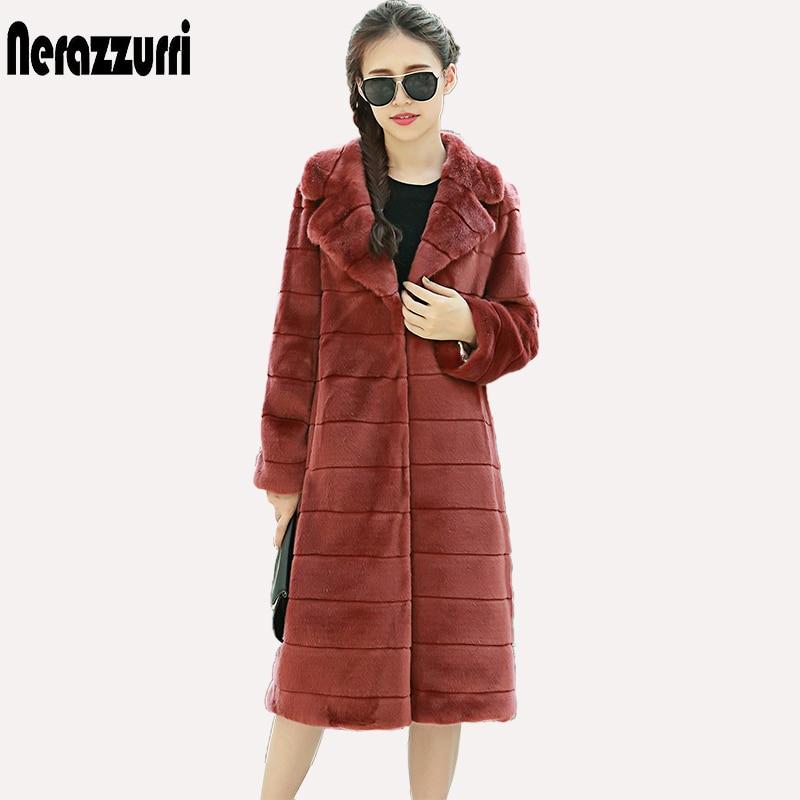 Женское меховое пальто Nerazzurri, длинное теплое меховое пальто в полоску с отворотом, большой размер, верхняя одежда из искусственного меха но...