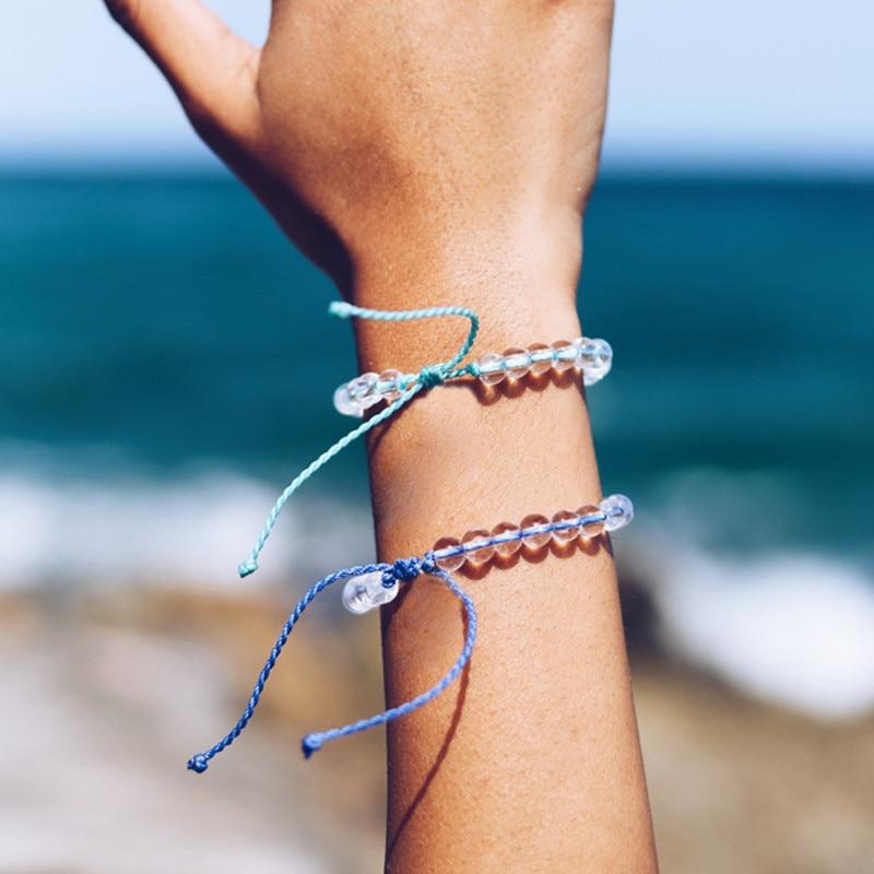 1 pc Women 4 Color Fresh Ocean Stone Bracelet Bohemian Style Weaving Bracelet Natural Transparent Beads Jewelry Gift