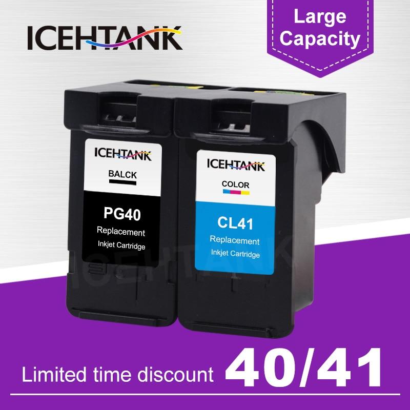 ICEHTANK cartucho de tinta remanufacturado para Canon PG 40 PG40 PG40XL CL41 PIXMA iP1800 iP1200 iP1900 iP1600 tinta de impresora cartuchos