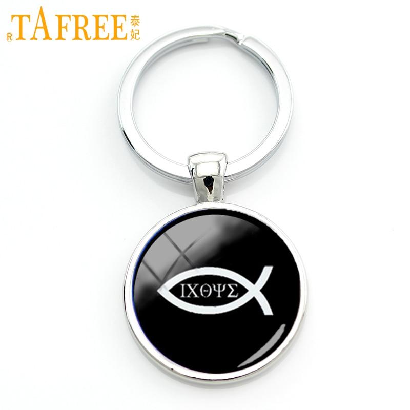 TAFREE Vintage charm design Christian Fish key chain Ichthus christian jesus keychain men faith jewelry gift KC287