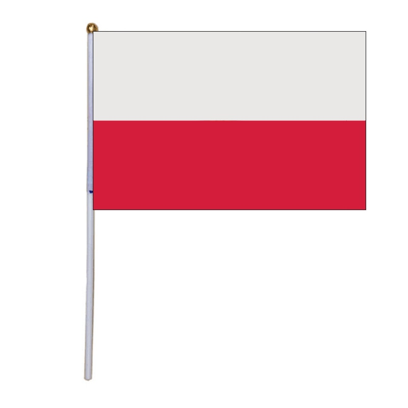free shipping xvggdg 14 * 21cm Poland hand wave flags 100pcs / bag with plastic rod Poland hand flag