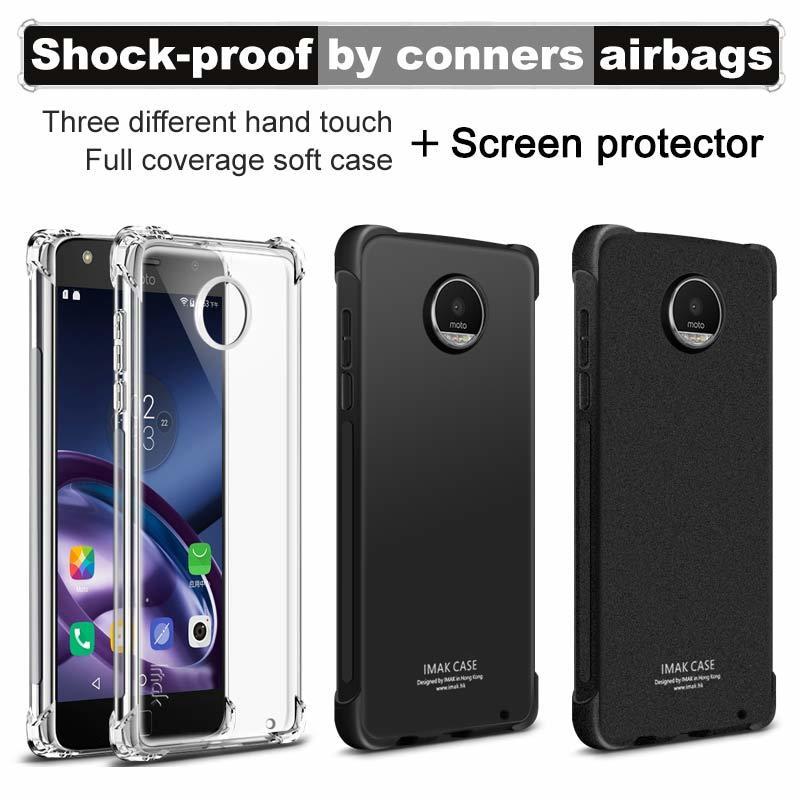 Funda de IMAK para Motorola Moto Z2 Z3 Play XT1710 funda de silicona TPU transparente suave a prueba de golpes para Moto Z2 Play funda con película