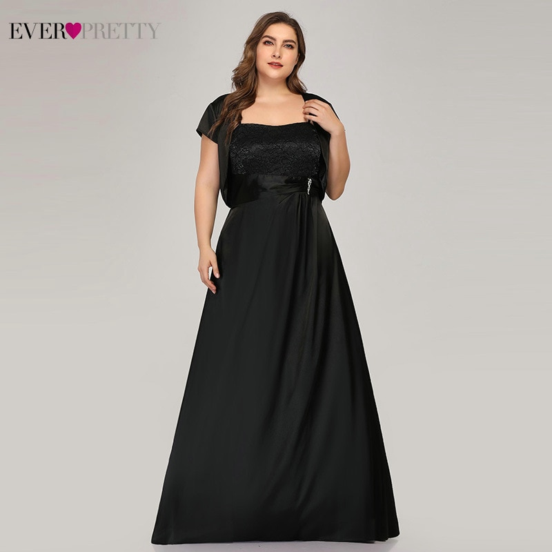 Ever Pretty Plus Size Satin Mother Of The Bride Dresses A-Line With Jacket Black Lace Dinner Gowns E