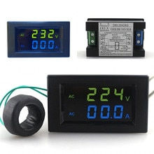 Mini Digital Voltmeter Amperemeter AC 300 V 100A Panel Amp Volt Strom Messinstrument-prüfvorrichtung-ladegerät Blau Grün Dual Led-anzeige Freies verschiffen