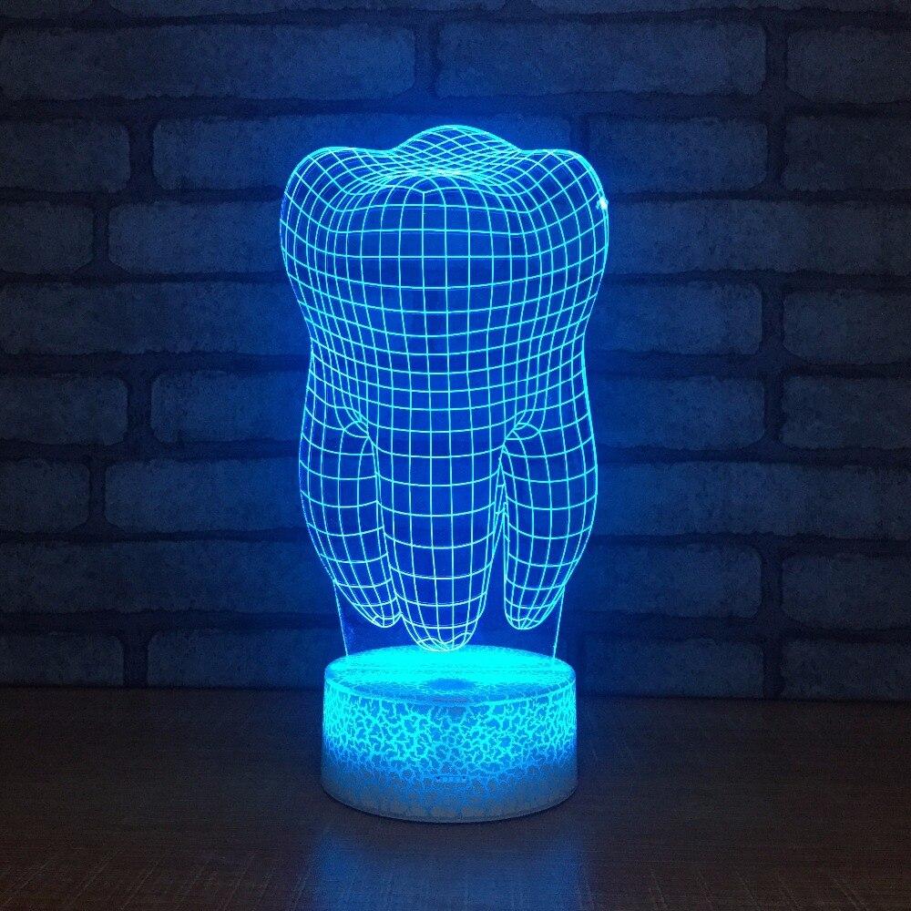 Форма зуба 3D иллюзия Светодиодная настольная лампа Acylic 7 цветов Изменение зубов 3D ночник белый сенсорный Swith для подарка Kis