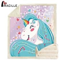 Miracille Unicorn Throw Blanket Super Soft Velvet Plush Sherpa Winter Bed Blanket for Children Thin Quilt Blue Bedding