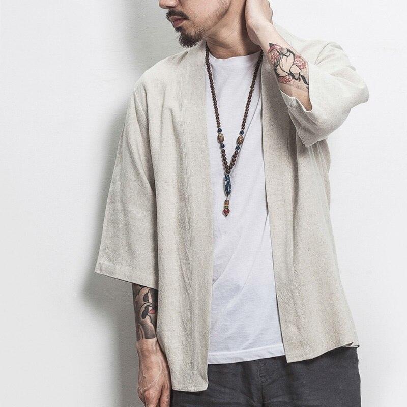 Kimono para hombre yukata, camisa samurai, ropa para hombre, haori, karate, ropa de calle japonesa, kimono tradicional japonés T466