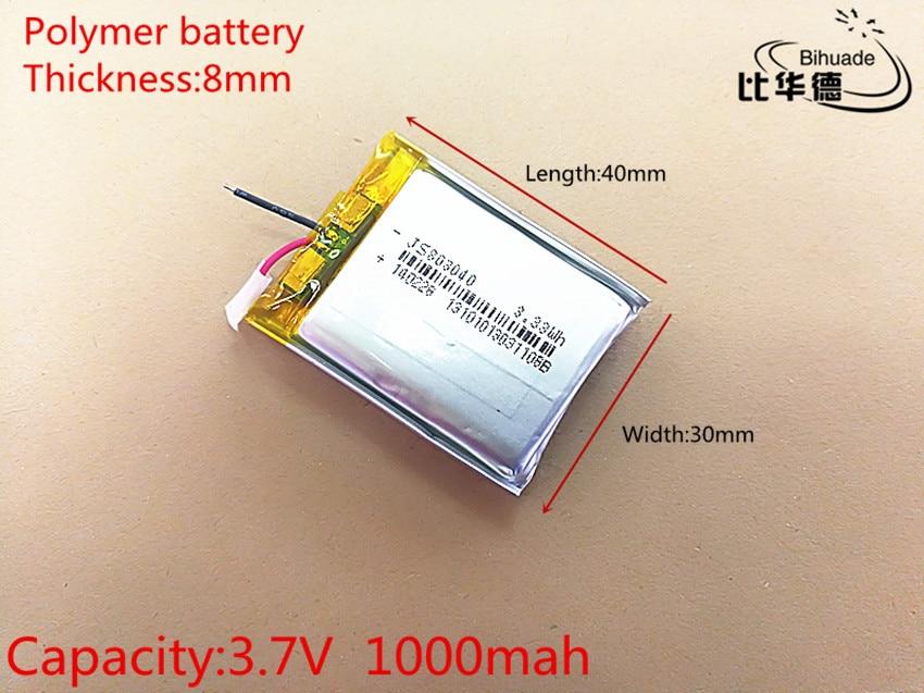 3,7 V 1000 mAh 803040 de polímero de litio Li-Po li recargable de ion de las células de las baterías para Mp3 MP4 MP5 GPS PSP móvil bluetooth