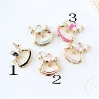 5pcs oil drop charms fashion horse gold color metal enamel floating pendant carousel metal charms for diy bracelet necklace